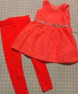 Carter's Coral Lace Dress Metallic Trim 12 mo